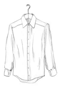 Hemd auf Kleiderbügel und geschlossener Knopfleiste